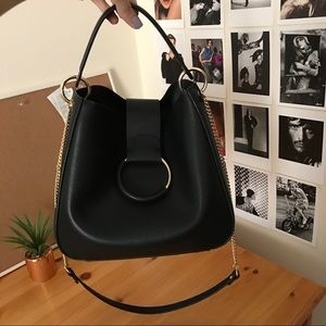 Zara Black Bucket Bag with Gold Chain